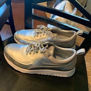 Metallic Silver Nike AirMaxs